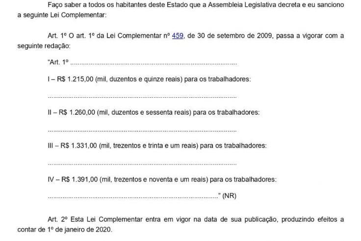 Aumento piso salarial de Santa Catarina