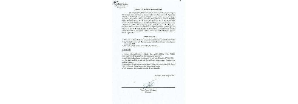 Edital de Convocação de Assembleia Geral 2021