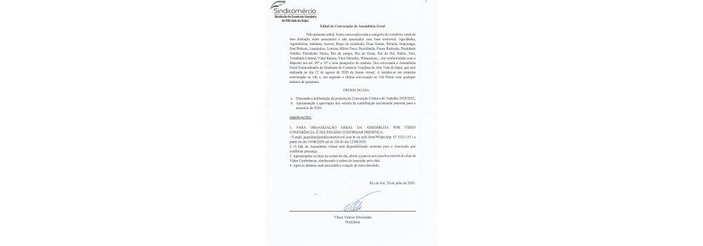 Edital de convocação para Assembleia Geral 2020