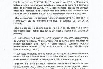 NOTA OFICIAL DO SINDICOMÉRCIO sobre o Decreto 515/2020