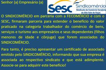 Nova parceria entre o SINDICOMÉRCIO e o SESC.